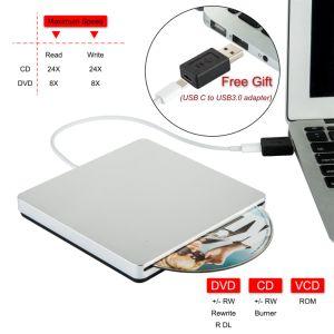 C USB Externe Graveur DVD Lecteur de CD pour ordinateur portable/PC/Mac (gris)