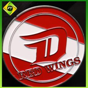 Entwurf freigeben, den kundenspezifisches Andenken-Münzen-Firmenzeichen-Flügel-Doppeltes Münze mit Seiten versah