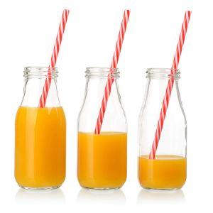 Freie leere nette Glastrinkende Flaschen der milchflasche-320ml mit Stroh und Metall Llid