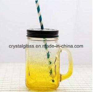 熱い販売450mlはハンドルが付いている飲むガラスのメーソンジャーを取り除く