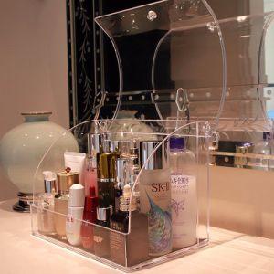 Titular Espelho gavetas de suporte de armazenamento de dados do organizador Cosméticos Caixa de Exibição de acrílico
