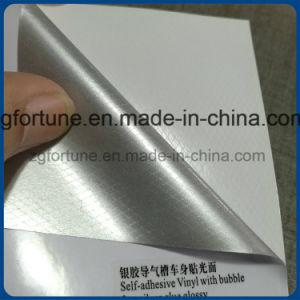 自己接着ビニールの泡銀の自由鋳造の接着剤の光沢のある良質車のステッカー