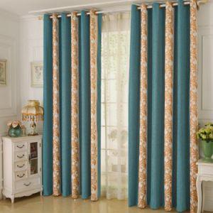 Heat-Insulating Chenilla Soluble en agua con bordado Blackout cortina de ventana (26W0026)