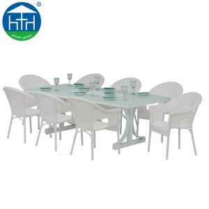Nouvelle conception de meubles de jardin ensemble à dîner en plein air avec cadre en aluminium en rotin Table et chaise en rotin