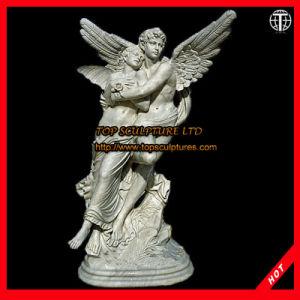 De vrouwelijke en Mannelijke Gravure van de Steen van het Beeldhouwwerk van de Engel Marmeren
