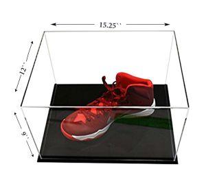 Personalizar acrílico transparente caja de zapatos con base de acrílico negro