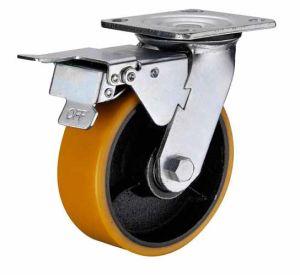 PU com rodízio de aço fundido pesado de freio duplo