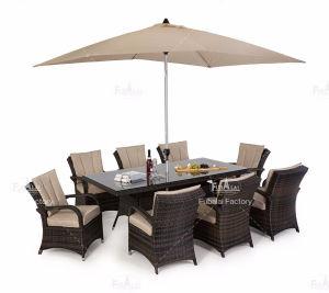 Tabla de ratán mesa de comedor con 8 sillas muebles (con sombrilla)