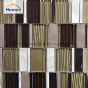 Barata Forma de faja de arena brillante de color marrón nunca se desvanecerá mosaico de vidrio de la pared