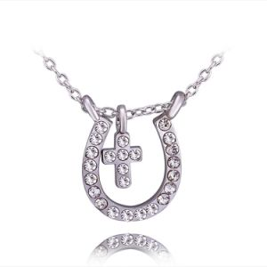 Juwelen van de Halsband van de Tegenhanger van de Diamant van de Juwelen van de manier de Gouden Dwars voor de Gift van de Bevordering
