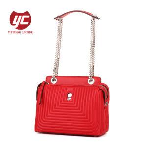 Cadeia de couro genuíno Crossbody Bag Colcha de moda com redes de cerco de Grãos