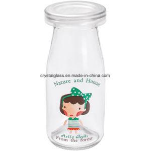 Freies Abziehbild-leere Glasmilchflasche mit Plastikschutzkappe