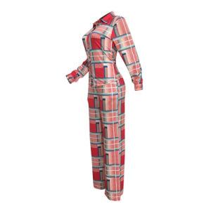 L2529 redes informales de dos piezas Conjunto de pantalón rojo impreso