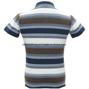 Os homens personalizada OEM de manga curta do logotipo personalizado Striped camisa Polo