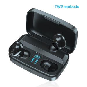 Auriculares estéreo de Tws verdadero Supprt inalámbrica teléfonos móviles de carga inalámbrica auricular estéreo caso
