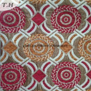 赤くおよび黄色のシュニールの円のジャカードソファーの布(FTH32087)