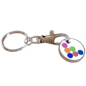 Kundenspezifische Zink-Legierungs-Metalldekoration Keychain Halter-Einkaufen-Laufkatze-Scheinmünze (030)