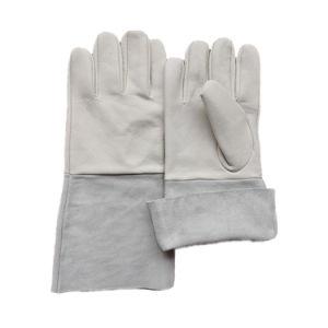 Guante largo aislamiento resistente al fuego el calor del horno cuero de protección de la mano el trabajo de soldadura TIG Guante de cuero