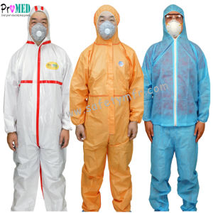 Wasserdichter Typ 5/6 Schutzkleidung mikroporös/Nonwoven/SBPP/SF/PE/SMS/industry/Hospital/Laboratory/Safety Wegwerfoverall-Mikrofilm-Overall, Gesamt