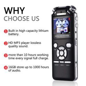 Enregistreur vocal numérique enregistreur audio vocale 16Go trois microphones de conception intelligente de la réduction du bruit de la mémoire MP3 avec écran couleur (noir)
