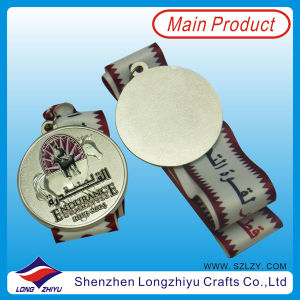 3D Silver Replica Medals Coin, Zinc Alloy Die Casting Sport Award Metal Stamped Medal con Satin Weaving Ribbon (lzy-201300091)