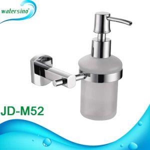 Distribuidor de loción de jabón montado en la pared con la botella de cristal para el cuarto de baño