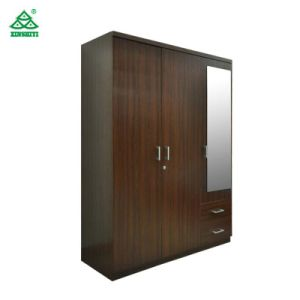 Base de madera de 3 puertas armario de madera de la habitación del Hotel / El armario con cajones