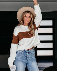 Cuello redondo con rayas Inter-Color suéter tejido suelto ropa de mujer