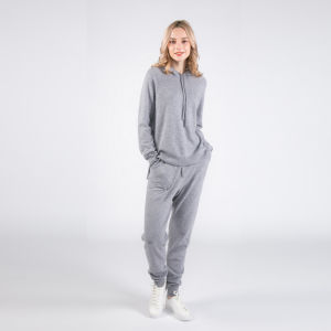 De la mujer Luxe 100% Cashmere sudaderas con capucha Sudadera con el cashmere pantalones emparejador de Ocio