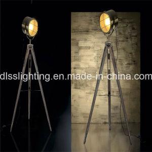 2017 Vintage Spotlight forma&Trípode de acero de madera en pie Lámpara de pie