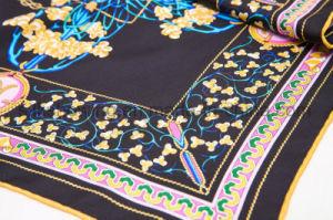 MOQ baja de la moda de impresión personalizada 100% seda bufanda dama