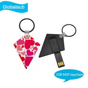 Пустой USB-накопитель с термической возгонкой MDF цепочки ключей