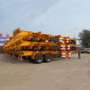 3 반 차축 40FT 편평한 침대 해골 트레일러 트럭