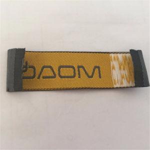 Personalizar el doble de Brocade 75D de alta densidad de la etiqueta de coser etiqueta tejida