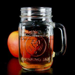 16ozハンドルおよびわらが付いている冷えた飲むガラスのメーソンジャー
