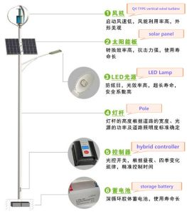 système extérieur de réverbère de l'hybride 60W de panneau solaire de la turbine de vent 300W 200W