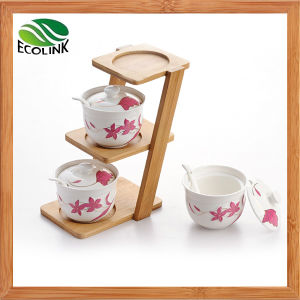 Conjunto de Tarro de Soporte de Bambú en Forma de Escalera