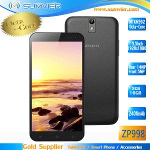 A MTK6592 Zopo ZP998 Octa Core 1,7 Ghz Smartphone 5.5 polegadas tela FHD Vidro Gorila 2GB, 16GB Android Market 4.2 OTG SNF