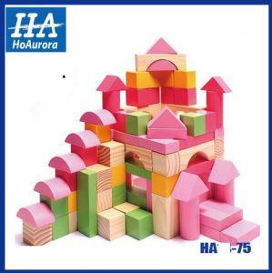 Prédio de madeira bloco criativo brinquedos (HA-75)
