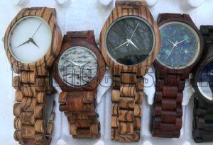 Semi-Precious Gemstone Watch Dail Regarder la bande de bois