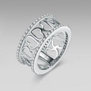立方ジルコンの愛中心パターン銀の宝石類のリング