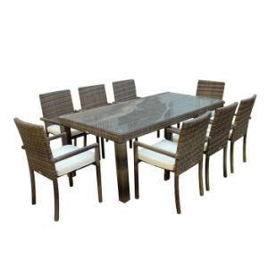 Comedor jardín patio muebles de mimbre Rattan sillas de exterior negro tabla