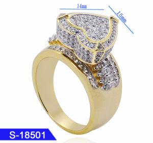 卸し売り14K金によってめっきされるHip Hopの宝石類の純銀製または黄銅のジルコニアの中心のリング
