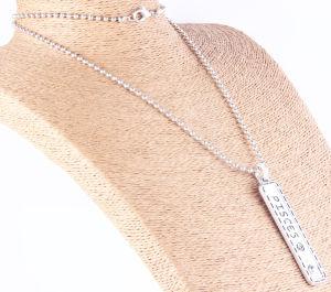 Halsband van de Tegenhanger van de Staaf van de manier de Anti Zilveren Gestempelde Gehamerde