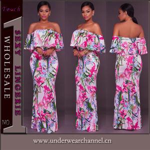 2018 printemps floral élégant de l'impression Lady une robe pour la vente en ligne
