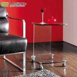 Le verre incurvé Table de nuit avec tiroirs en bois de placage de noyer