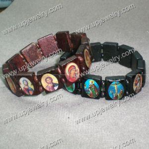 De houten Armband van de Rozentuin met Godsdienstig Beeld
