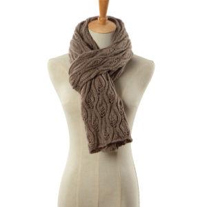 方法葉のジャカード冬のアクリルの編まれたスカーフ(YKY4644)