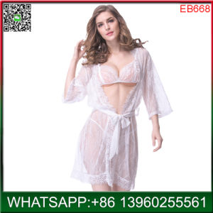 Plus la taille de la dentelle blanche transparente lingerie sexy de haute qualité