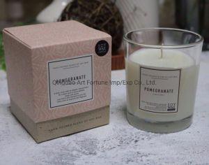 Vidro de Cera de soja tipo vela perfumada com o Suporte de vidro de alto valor na caixa de Oferta para decoração